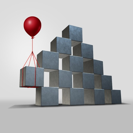 support in business concept as a group structure of three dimensional blocks in danger of falling with a key piece supported by a red balloon