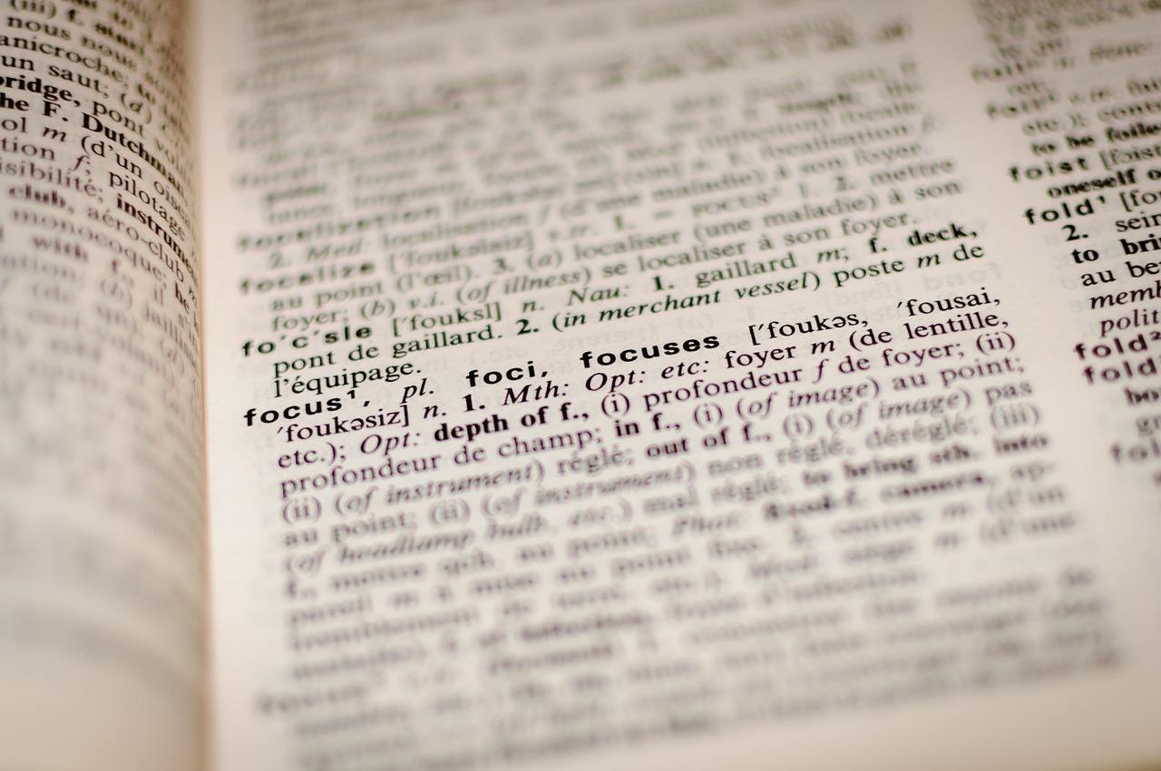 blured dictionary with the word focus in focus