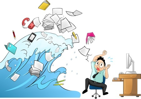 image depicting tidal wave of workload in the office