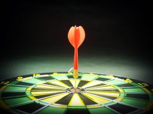 dart board to signify goals