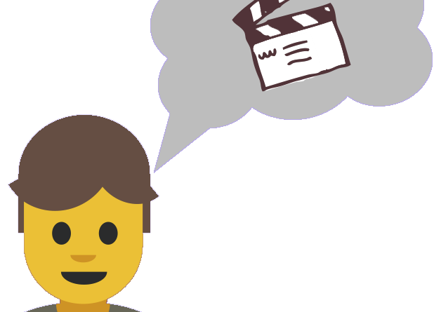 cartoon head with a thought bubble and movie clapper to signify a mental movie of visualisation