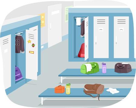 illustration of a male change room with sports gear strewn around