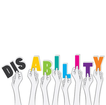 disability word hold in hand, transform in ability concept design