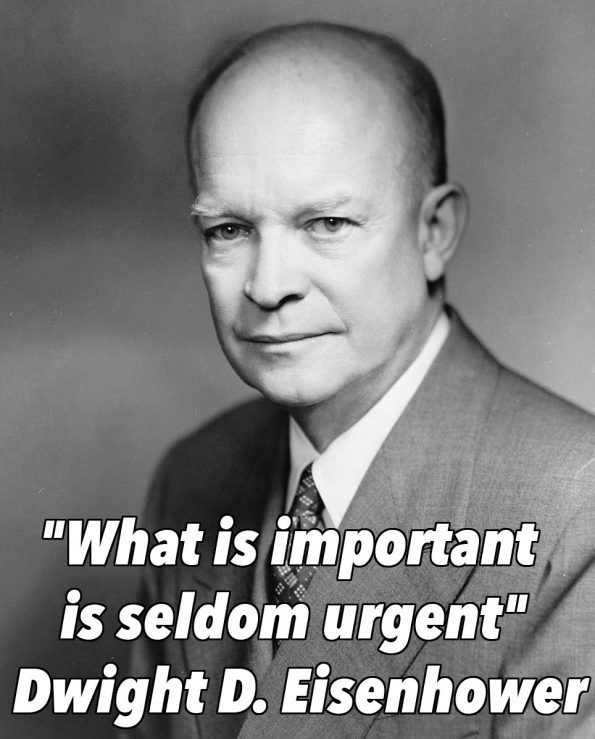 """What is important is seldom urgent,"" Dwight D. Eisenhower"