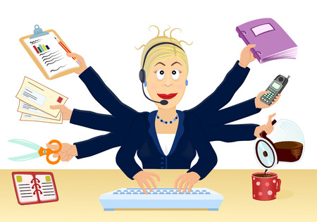 stress and multitasking at the office - vector illustration