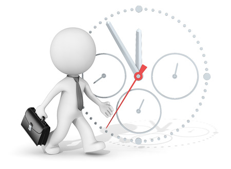 time management 3d character businessman rushing. clock in background.