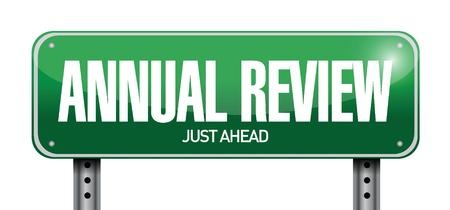 annual review road sign illustration