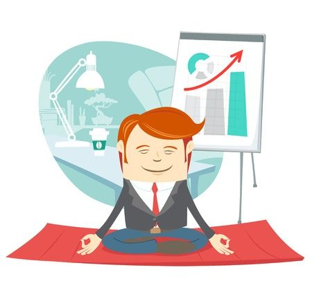 office man doing yoga pose lotus near his workplace to reduce anxiety