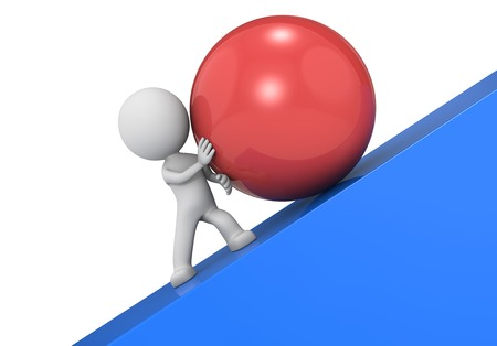 3d character pushing a large red ball up a steep slope.