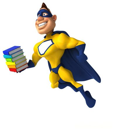 fun superhero with a stack of books to read