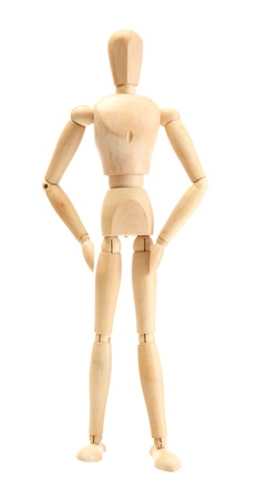 wooden mannequin in wonderwoman pose