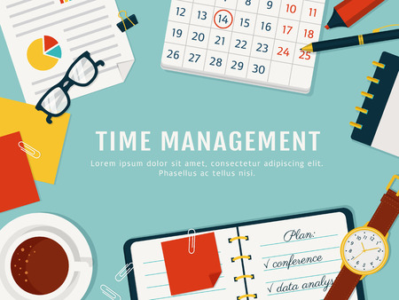 time management banner. efficient use of time for implementation of the plan.