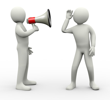 auditory processing disorder concept illustration of person announcing through megaphone and another guy carefully listening