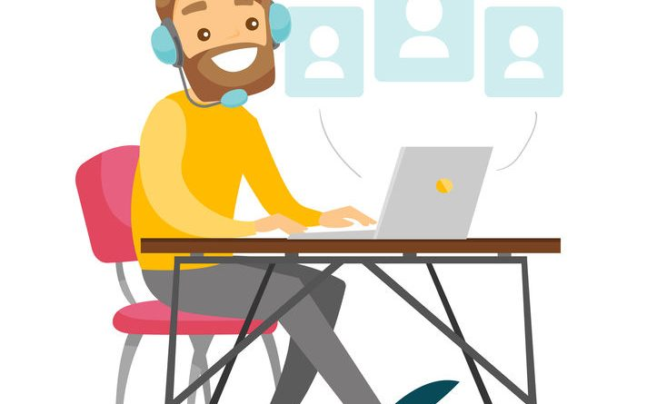 A white man in headset with a computer at the desk. Making contacts in social media. Concept of work, office, internet, network, conference. Vector cartoon illustration isolated on white background.
